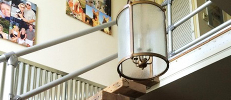 Modern Railing for a Rustic Home Stairway Remodel Image